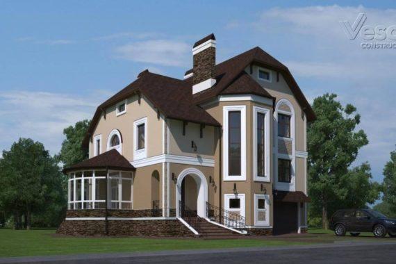 Проект двухэтажного дома с цокольным этажом и вторым светом «Мокка» (283 кв.м.)