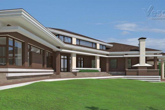 Одноэтажный проект дома в стиле Фьюжн-1 (393 кв.м.)