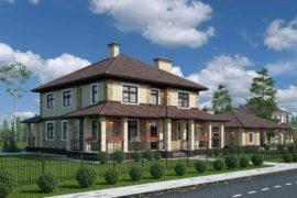 Проект дома из кирпича с террасой и гаражом Гарант М,  327 м²