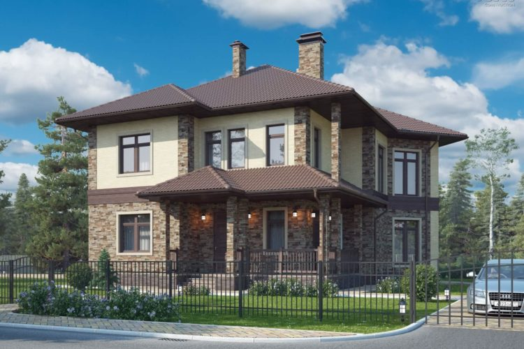Проект двухэтажного дома с большой гостиной и террасой «Гарант» (227 кв.м.)