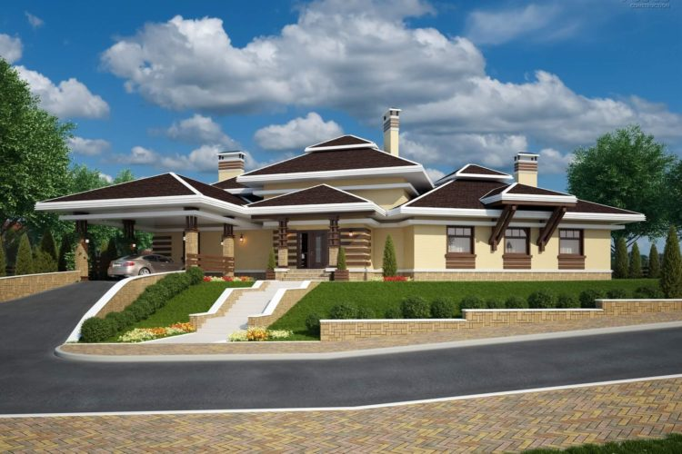 Проект одноэтажного дома ШАМОНИ, 366 м²