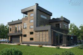 Проект дома с эксплуатируемой кровлей в стиле эко-урбанизм Норден (609 кв.м.), с дизайн-проектом