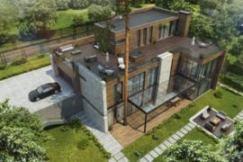 Проект дома Бертани для рельефного участка, 853 м²