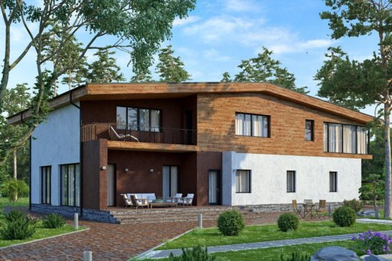 Проект дома Ольден в стиле современного шале (491,3 кв.м.)