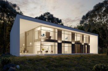 Проект современного дома в стиле минимализм в КП Княжье Озеро