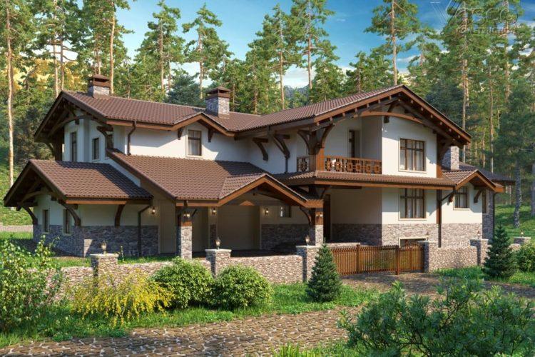 Проект дома Бероль на рельефе в стиле шале  (563,9 кв.м.)