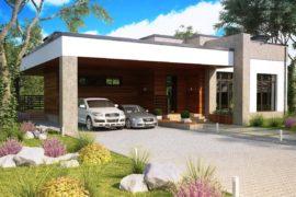 Проект одноэтажного дома с плоской кровлей Ланц