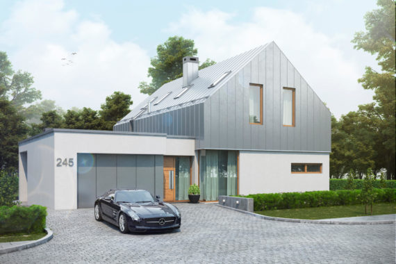 Проект модного дома с гаражом ТОРН в стиле барн, 247 м²